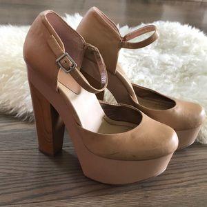 Vintage ASOS Nude Platform Mary Janes Wooden Heel